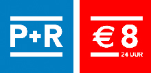 P+R for € 8 per 24 hours inclusive of free public transport!